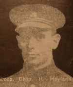 Photo of Charles Hoyland – In memory of the men and women from the Waterloo area who went to war and did not come home. From the booklet, Peace Souvenir – Activities of Waterloo County in the Great War 1914 – 1918. From the Toronto Public Library collection.  Submitted for the project, Operation: Picture Me.