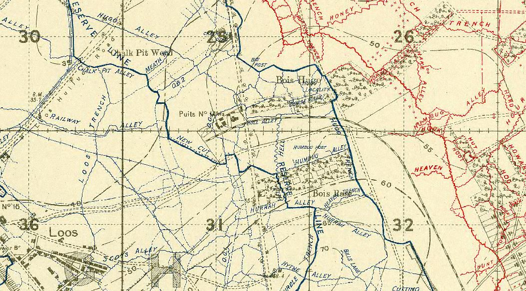 "Map – The community of Vendin-le-Vieil, where the remains were located, as at 50°28'30.56"" 2°51'56.07""E, to the northwest of Loos-en-Gohelle. The 16th Battalion was on the right flank (through Bois Base) of the 3rd Infantry Brigade attack, with the 13th in the middle and the 15th on the left (through Bois Hugo). That would put them in the vicinity of a path from 36c.H.31.a.2.2 to 36c.H.32.a.4.7, or 50.4590, 2.8076 to 50.4612, 2.8217. On Google it appears that Bois Base is still in existence and that the industrial site is on the north border. That would be along Humbug Alley up to Hugo Trench."