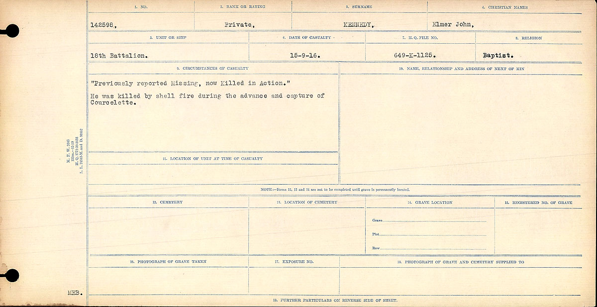 """Death notice – Circumstances of Death Register: """"Previously reported missing, now Killed in Action."""" He was killed by shell fire during the advance and capture of Courcelette."""