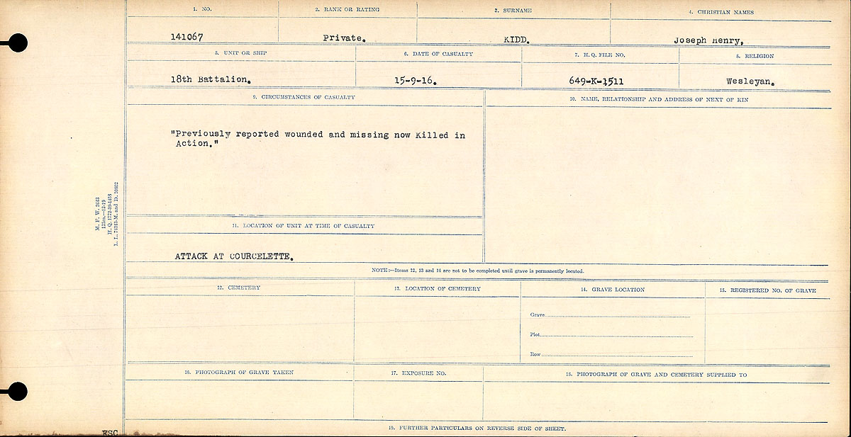 """Circumstances of Death Registers – Circumstances of Death Register: """"Previously reported wounded and missing and now Killed in Action."""""""