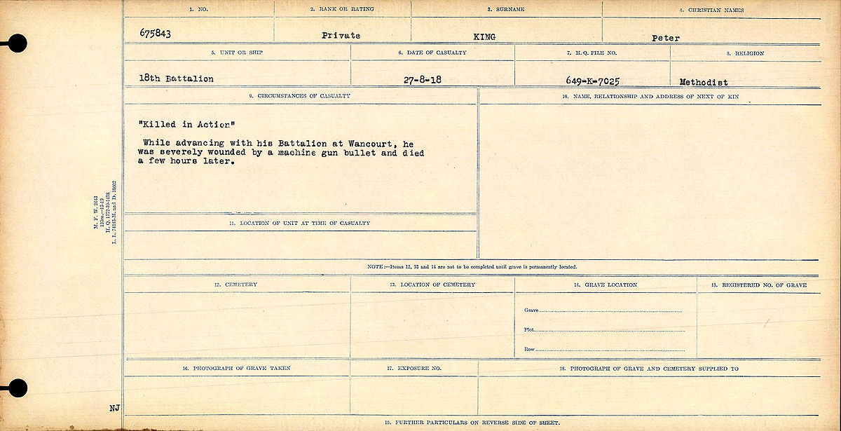 """Death Registry – Circumstances of Death Register: """"Killed in Action."""" While advancing with his Battalion at Wancourt, he was severely wounded by a machine gun bullet and died few hours later."""