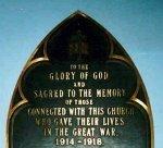 Memorial Plaque – Memorial plaque in St. James Presbyterian Church, Charlottetown, Prince Edward Island.
