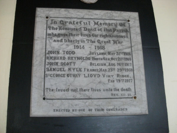 Close up of Memorial Plaque