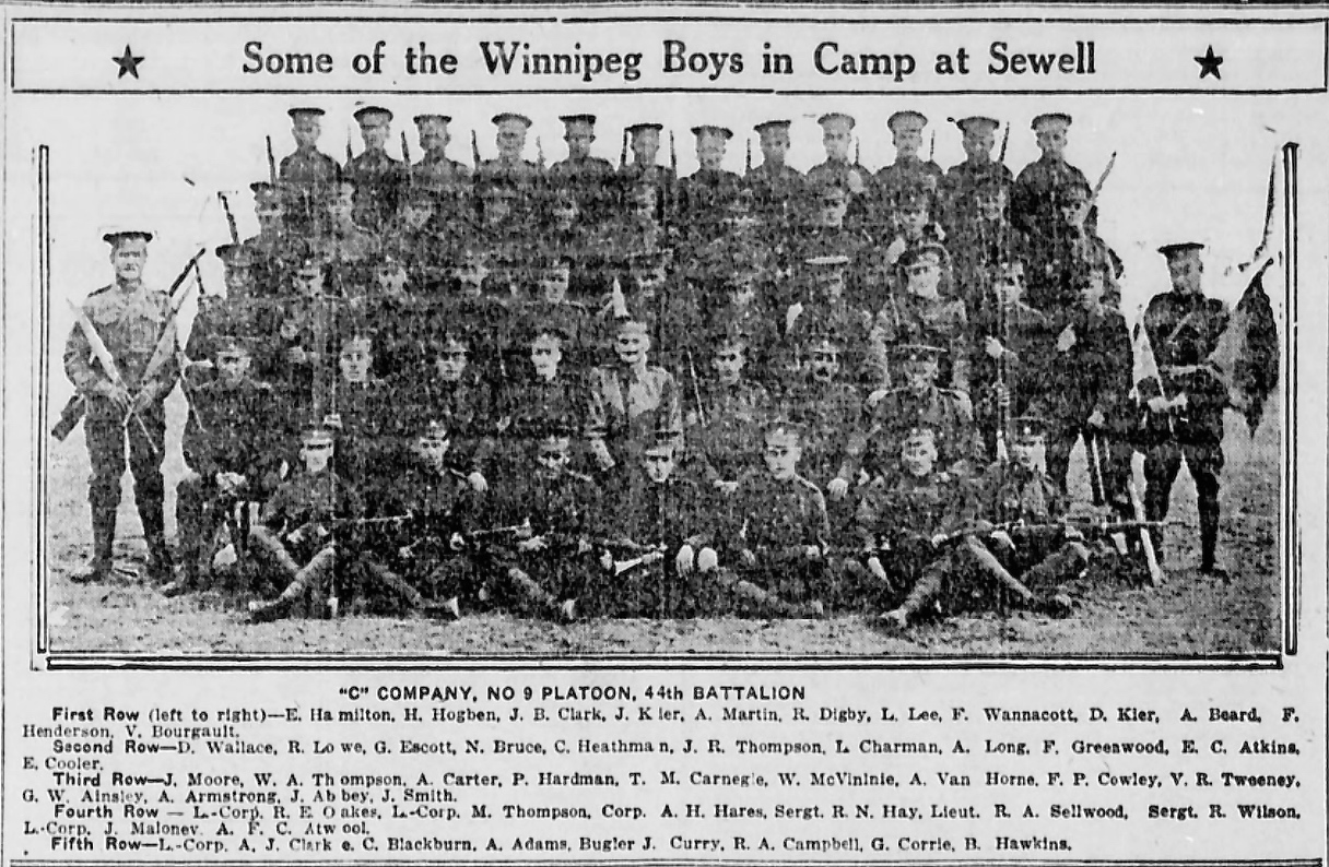 Newspaper Clipping – 2nd row from top. In memory of the men and women memorialized on the pages of the Winnipeg Evening Tribune during World War One. Submitted for the project, Operation: Picture Me