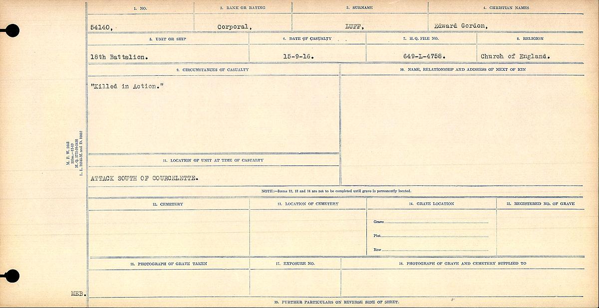 "Death Registry – Circumstances of Death Register: ""Killed in Action."""
