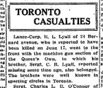 Newspaper Clipping – From the Toronto Globe for 7 July 1915.