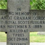 Inscription – Lt. Cortlandt Graham Gordon Mackenzie, Royal Scots Fusiliers, is remembered on the same monument - this is carved on the other side of the cross.