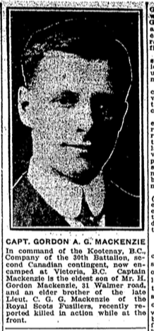 Photo of GORDON ALEXANDER GORDON MACKENZIE – From the Toronto Star. Submitted for the project Operation: Picture Me