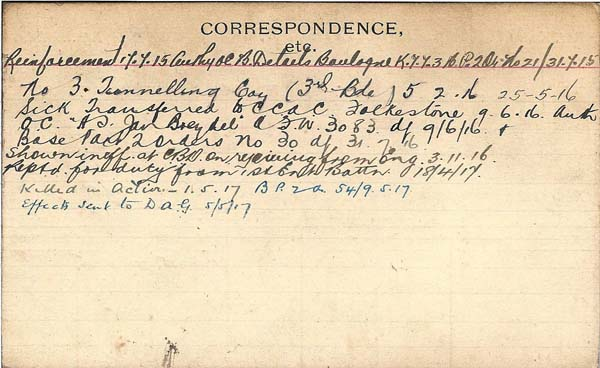 Record of Service – Record of Service Card (reverse side).  Courtesy 48th Highlanders of Canada Regimental Museum.  Submitted by 15th Bn Memorial Project Team.  DILEAS GU BRATH