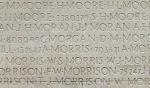 Inscription – His name as it is inscribed on the Vimy Memorial (2010). Over 11,000 fallen Canadians having no known place of burial in France, are honoured on this Memorial. May they never be forgotten. (J. Stephens)