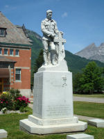 Memorial – War Memorial, Fernie and District, British Columbia.  Dedicated by Lord Byng on  May 24th, 1922.   Inscribed:  ERECTED TO PERPETUATE OUR HONOURED DEAD AND THOSE WHO CARRIED ON IN THE GREAT WAR FROM FERNIE B.C. AND DISTRICT.