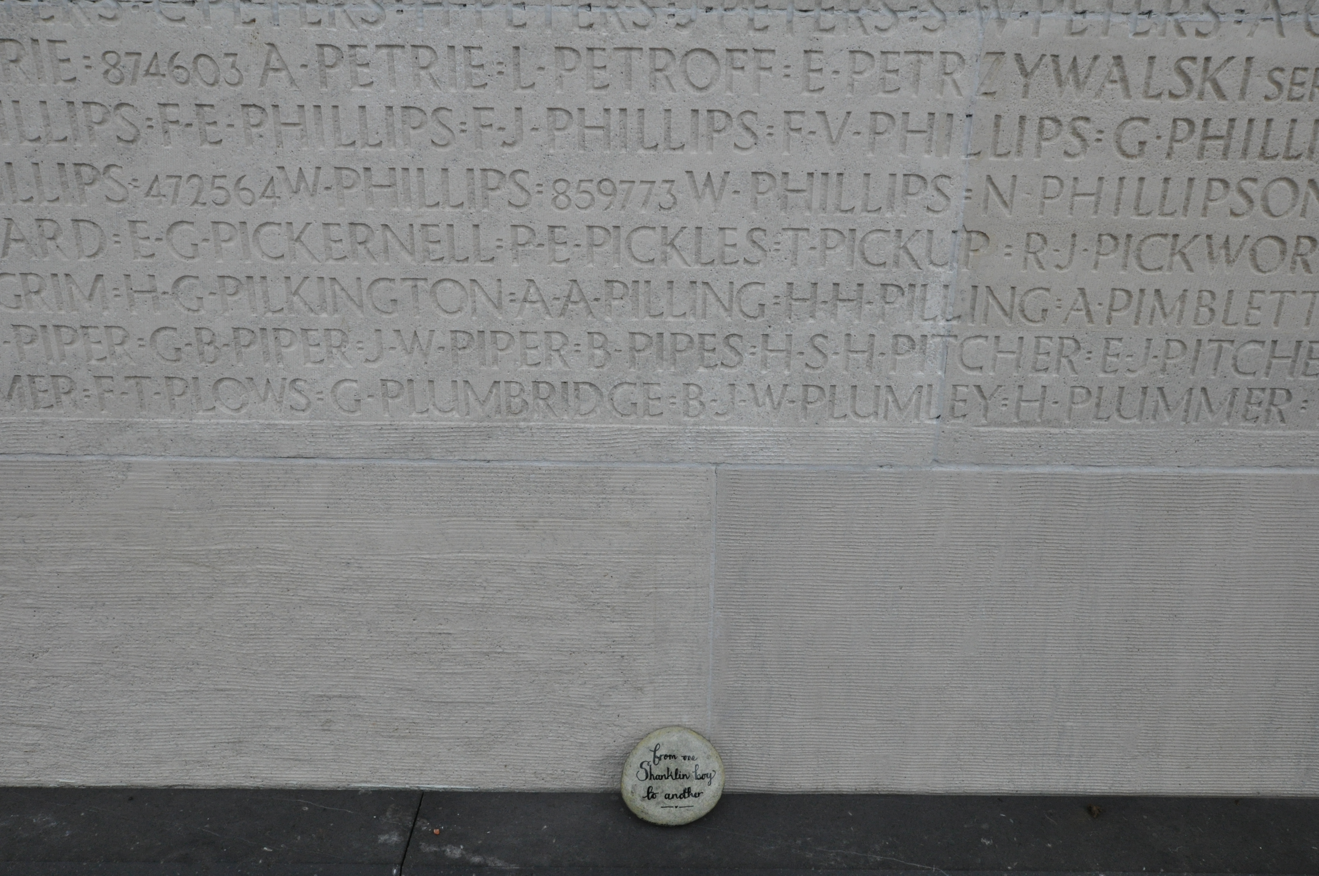 Inscription – In memory of Frederick Phillips. A Shanklin boy. Memorial stone placed January 2017. We will remember.