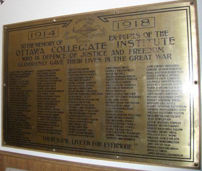 Memorial – Lisgar Collegiate honour roll