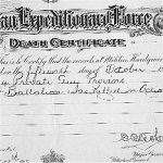 Death Certificate – This is the CEF death certificate issued for Guy Provins.
