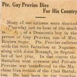 Press Clipping – Obituary and newspaper clipping,  referenceing Private Guy Provins, of Deseronto, Ontario service, during WWI.