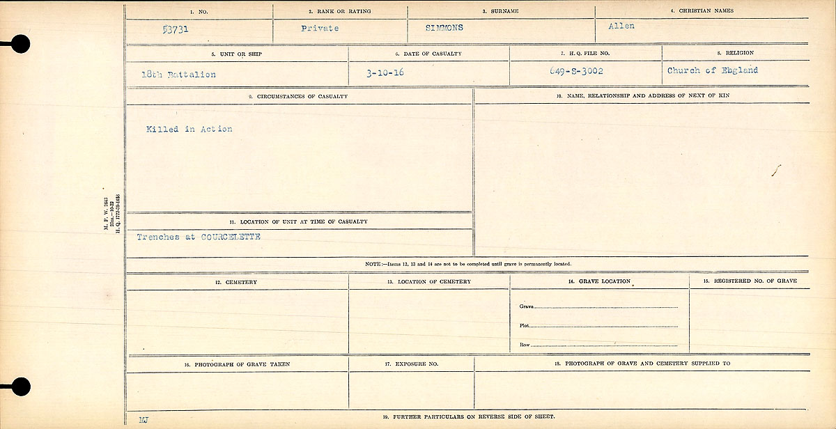 """Circumstances of Death Registers – """"Killed in Action"""" Contributed by E. Edwards, 18thbattalioncef.wordpress.com"""