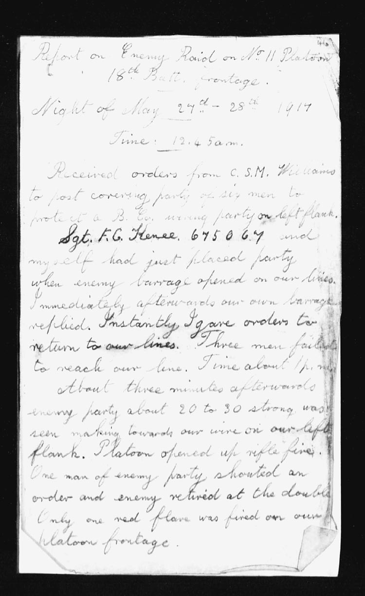 Letter – Page 1, report written by Corporal Skilton.