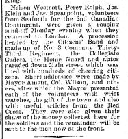 Newspaper Clipping – The Brussels Post, December 3 1914 Page 1.