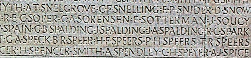 Memorial – His name as it is inscribed on the Vimy Memorial. Over 11,000 fallen Canadians having no known place of burial in France, are honoured on this Memorial. May they never be forgotten. (J. Stephens)