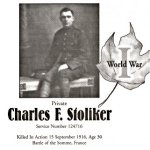Memorial Page – Charles Stoliker is honoured on page 44 of the Gananoque Remembers booklet, published on January 31, 2005.