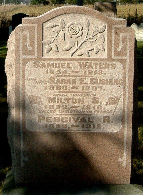 Family gravemarker – Commemorative tombstone in the Kenilworth Methodist Cemetary, Arthur Township, Wellington County.