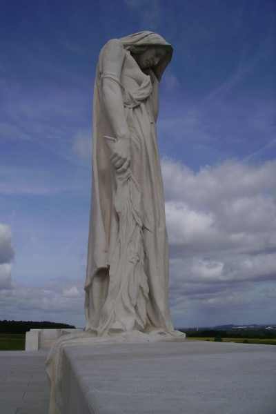 Vimy Memorial – Mourning Mother - Vimy Memorial - August 2012 … Photo courtesy of Marg Liessens
