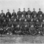 """Group Photo – Officers of the 48th Highlanders from """"The Red Watch - With the First Canadian Division in Flanders"""" written by Colonel J.A. Currie, M.P.  Published in Toronto in 1916 and dedicated to the memory of the Canadian soldiers who fell in Flanders.  In this group portrait Capt. Daniels is seated in the second row from the bottom, second over from the left side."""