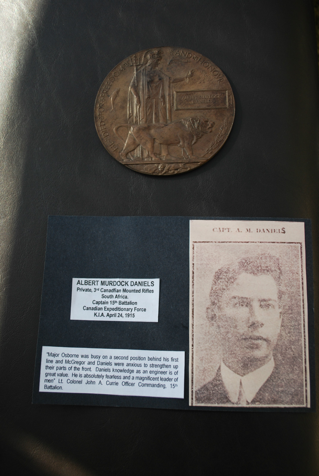 Memorial Plaque – Submitted for the project, Operation: Picture Me