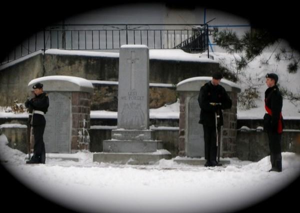 Cenotaph Cobalt Ontario – Standing Guard at Cenotaph in Major Edward J Holland VC Memorial Park, Cobalt Ontario - Nov 11 2014.  Photo by Laura Landers