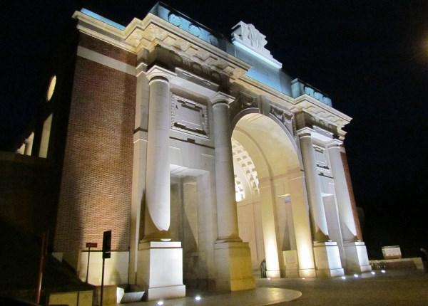 Menin Gate Memorial – Menin Gate Memorial after dark. Photo by Ken Riley