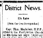 Newspaper Clipping – From the New Liskeard (Temiskaming) Speaker for 3 May 1917.