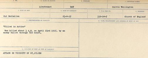 Circumstances of death registers – Source: Library and Archives Canada. CIRCUMSTANCES OF DEATH REGISTERS, FIRST WORLD WAR. Surnames: Davy to Detro. Microform Sequence 27; Volume Number 31829_B016736. Reference RG150, 1992-93/314, 171. Page 135 of 1036. Body not recovered for burial. His full name was Calvin Wellington Day.