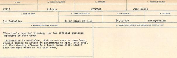 Circumstances of death registers – Source: Library and Archives Canada. CIRCUMSTANCES OF DEATH REGISTERS, FIRST WORLD WAR. Surnames: Deuel to Domoney. Microform Sequence 28; Volume Number 31829_B016737. Reference RG150, 1992-93/314, 172. Page 407 of 1084.