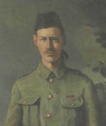 Portrait – Life-sized portrait of Fred Fisher VC, located in the library of Westmount High School, Westmount, Quebec.   The portrait is protected by glass and so is unfortunately subject to glare and reflections.