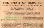 Press clipping – This 1917 account published in ¿Canada in Khaki¿ magazine honours the heroism of Lance-Corporal Fred Fisher, V.C. The magazine was published for the Canadian War Records Office by the Montreal Star Publishing Co. Ltd., with net profits going to the Canadian War Memorials Fund.  The image of the fallen soldier is by artist Byam Shaw.