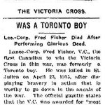 Newspaper Clipping – Newspaper article appearing in the Toronto Star in 1916 regarding Lance Corporal Fred Fisher's Toronto connections.