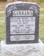 Inscription – Gibbins family grave marker at Gananoque Cemetery.