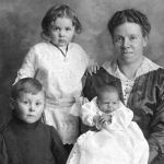 Photo of wife and children – Emma Jane Gibbins and children, George, Marjorie and baby Elsie May, who was born after her father went overseas.  She died in 1921.
