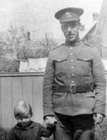 Photo of William Gibbins – Photo of Pte. W. Harry Gibbins and son George.