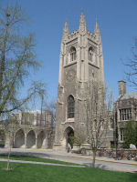 """The Soldiers' Tower – The Soldiers' Tower was built at University of Toronto between 1919-1924 in memory of those lost to the University in the Great War. The name of """"Lt. H. A. M. Grasett 3rd Bn"""" is among the 628 names carved on the Memorial Screen, which can be seen at photo left. Photo: K. Parks, Alumni Relations."""