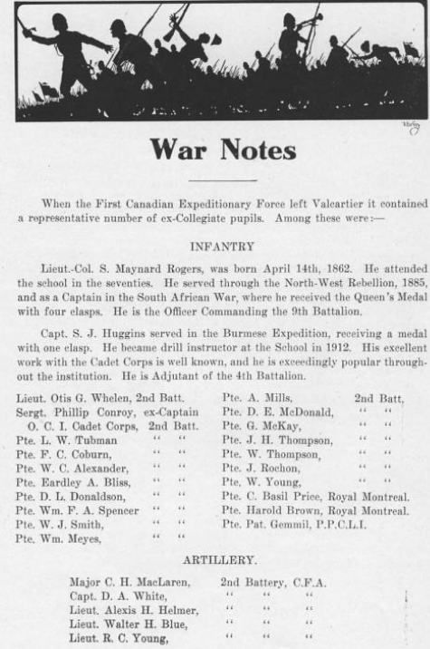 Lisgar Collegiate Institute yearbook – Lisgar Collegiate Institute yearbook 1914, war notes.