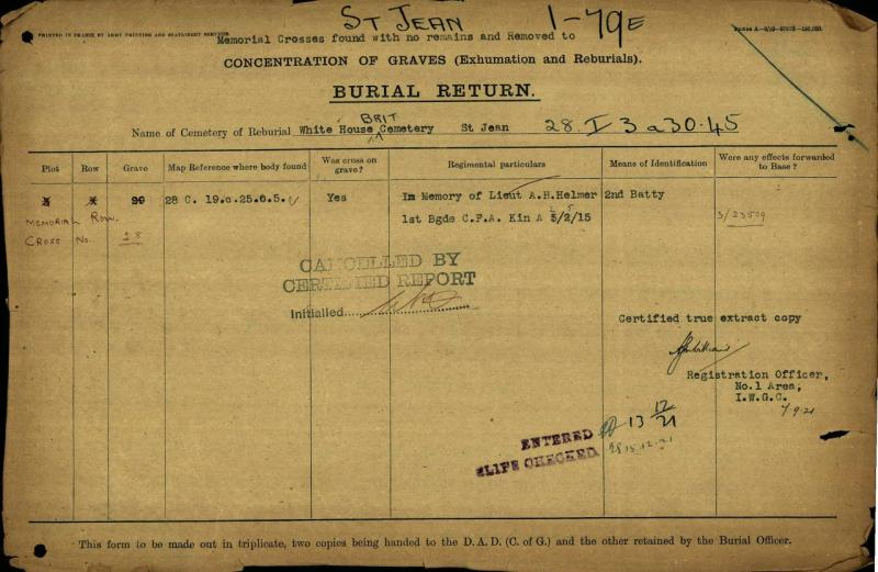 Burial Report – CWGC documents show Alexis Hanmer's body was originally buried at 28 C. 19.c.25.0.5 and later moved to the White House Cemetery at St-Jean-Le-Ypres  in Plot 3 Row X Grave 29.