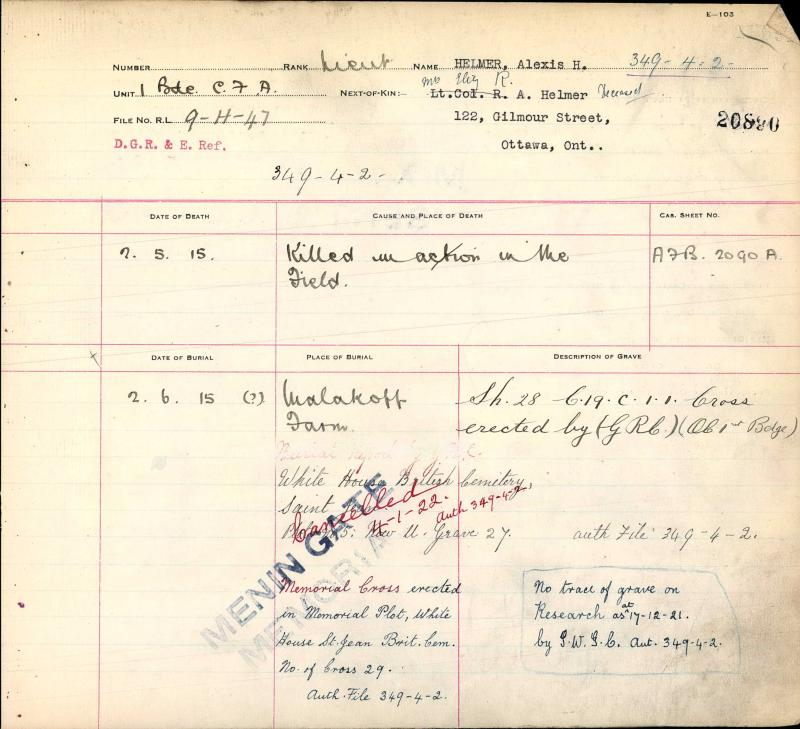 Circumstances of Death Registers – Lt Alexis Henmer grave registration - Menin Gate