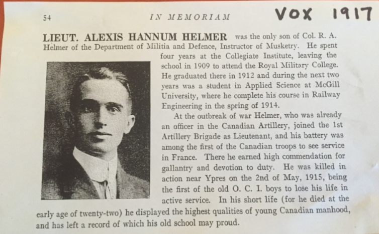 Biography – Lieut Alexis Hannum Helmer, Obit, Ottawa Collegiate Institute (now Lisgar Collegiate Institute).