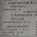 Inscription on Menin Gate (Ypres) Memorial – Detail from panel 10 on the Menin Gate, Ypres, Belgium, where Alexis Helmer is commemorated. Picture by the Dover War Memorial Project, England