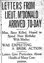 Newspaper Clipping – Letter published in the Toronto Star for 27 April 1915.