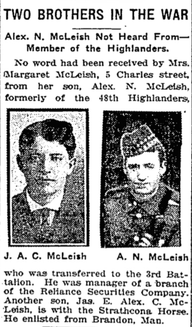 Press Clipping – In memory of the members of the 15th, 92nd and 134th Battalions (48th Highlanders) who went to war and did not return. Remembered by the 48th Highlanders Museum 73 Simcoe St. Toronto, Submitted for the project, Operation: Picture Me.