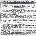 Press clipping – Appeared in the Winnipeg Evening Tribune on July 5, 1915.