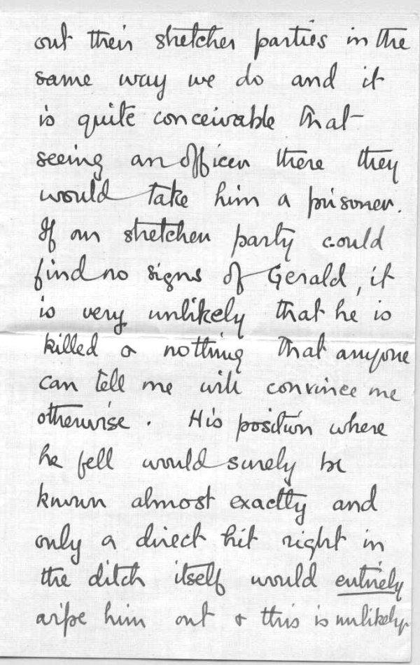 Lettre de son frère, Frederick Peters VC