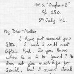 Letter from brother, Frederick Peters VC – Page 1 of a letter from Frederick Peters, VC to his mother regarding the search for his brother Gerald, who was missing and presumed dead.